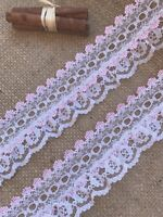 White/Pink Gathered Lace Double with Eyelet 2.5 inch/6.5 cm