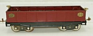 1926 LIONEL PREWAR STANDARD GAUGE TRAIN NO.212 RED GONDOLA BRASS TRIM WITH COAL