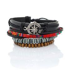 Modeschmuck-Armbänder im Armreif-Stil aus Leder mit Perlen (Imitation)