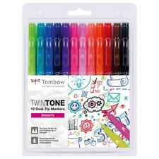 Tombow TwinTone 12 Dual-Tip Markers - Brights - 1st Class Post - NEW