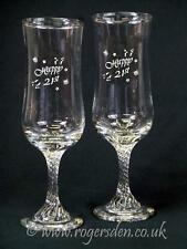 Champagne Flutes  Happy 21st Twisted Stem