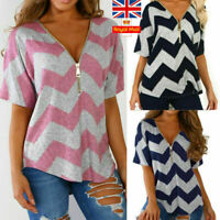 UK Women V Neck T-Shirt Ladies Summer Loose Tunic Casual Blouse Tops Size 16-22