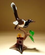 "Blown Glass ""Murano"" Art Animal Figurine MAGPIE Bird on a Branch"