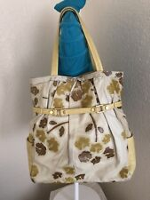 R&Y Augousti Beige/Yellow/Brown Leather Floral Satchel Tote Shoulder Handbag
