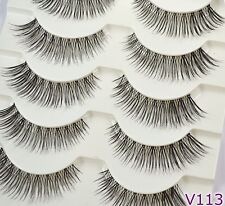 Multipack 5 Natural Black False Eyelashes Strip Eye Lashes UK SELLER - Vivis 113