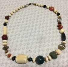 """Vintage Semi Precious Stone Carved Cow Cattle Bone Beads 21"""" Necklace"""