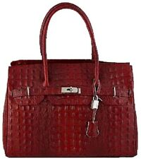 Woman Leather handbag with crocodile print BC8824. Made in Italy. 6colors