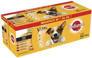 PEDIGREE Vital Protection Dog Food Pouches Mixed Variety in Gravy, 40 x 100g