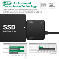 """USB 3.0 to SATA Converter Adapter For 2.5""""/3.5"""" HDD SSD Hard Drive With Charger"""