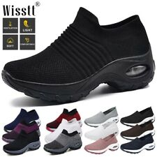Women's Air Cushion Sneakers Comfy Mesh Walking Slip-On Running Gym Sports Shoes