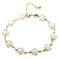 "7"" White-Color Gemstones & Yellow Gold Plated Bracelet with 1 Inch Extender"