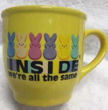 Peeps Candy Company Ceramic Coffee Mug INSIDE WE'RE ALL THE SAME Rainbow 10fl