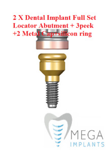 2 X Dental Implant Set Locator Abutment 1-5 mm+ 3peek +2 Metal Cap+ Silicon ring