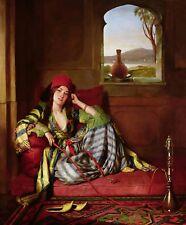 Arabian Girl With Hookah - Arabian Art - Handmade Oil Painting On Canvas