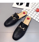NEW Women Princetown Horsebit Slippers slides Flats Mules Loafers black