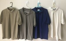 4 Mens Shirts polo (L) Jos A Bank, Red Head,Gander Mnt. Tans, cream, blue