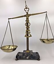 """Vintage Black Marble Brass Bowl Pans Scales of Justice 18"""" made in Italy Lawyer"""