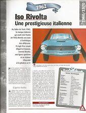 FICHE DESCRIPTIVE - TECHNIQUE - LA ISO RIVOLTA DE 1962