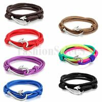 Men Women Mulitilayer Nylon Twisted Wrap Fish Hook Bracelet Nautical Rope Cord