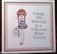 Handmade Personalised Birthday Card ANY AGE Girls Sister Daughter Friend Ladies