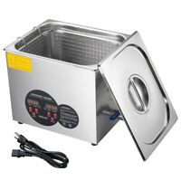 10L Stainless Steel Ultrasonic Cleaner Heater w/ Timer Bracket Jewelry Cleaning
