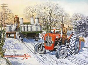 Massey Ferguson 35 Tractor in Snow  small steel sign 200mm x 150mm (og)
