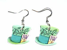 Alice in Wonderland Mad Hatter Hat Disney Charm Earrings HANDMADE PLASTIC CHARMS