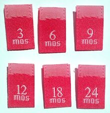 MIXED 250 pcs WOVEN HOT PINK CLOTHING SEWING LABEL TAGS 3 6 9 12 18 24 MONTHS