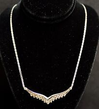 18k Solid White gold Lariat Natural Champagne Diamond Necklace  Stylish 1.90 ct