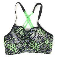 Victorias Secret VSX Sport Womens 36A Sports Bra Black Green Geometric