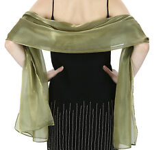 Elegant Ladies Sheer Silky Shimmery 2 Tonal Scarf Wrap Stole Wedding Party Prom