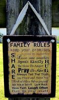 Family Rules Hanging Wall Sign Plaque Primitive Rustic Farmhouse