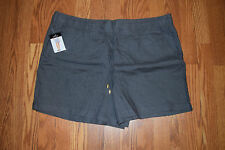 NWT Womens ELLEN TRACY COMPANY Iron Gray Linen Shorts Size L Large $59.50