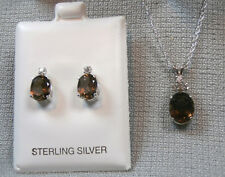 SMOKY QUARTZ - Root Beer Brown Necklace & Earring .925 Sterling Jewelry Set