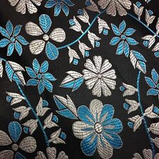 Brocade Chinese floral blossom oriental asian  Black/ Silver/blue Fabric
