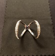 Double Knuckle Ring Sliver Sterling CZ Size OS
