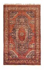 5'x7' Rare Antique Silk Mohtasham Rug Fine Handmade Area Rug Rust C.1880 5x7