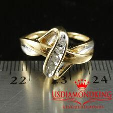 LADIES WOMEN'S HERS 14K YELLOW GOLD MARKED GENUINE DIAMOND WEDDING RING BAND NEW