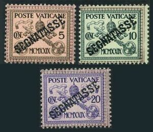 Vatican J1-J3,hinged.Mi P1-P3. Due Stamps 1931.Papal Arms,Key of St Peter.