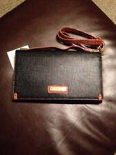 Adrienne Vittadini Black Passport Organizer w/Strap Bag Clutch Wristlet Designer