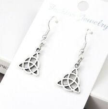 Vintage Silver Alloy Dangle St Patrick's Irish Celtic trinity Knot Earrings NEW