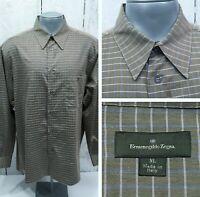 ERMENEGILDO ZEGNA XL Long Sleeve Men's Shirt Brown Lightweight Twill Button Fr.