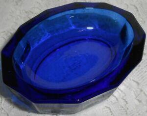 Blue Vaseline glass Oval salt cellar dip uranium glow candle holder cobalt celt