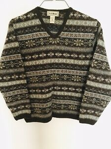Vintage LL Bean Womens Pullover Wool/ Silk Brown/ Multicolor Sweater Size XS