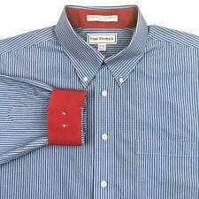 Paul Fredrick Mens 17-35 Flip Cuff Dress Shirt Blue Striped Two Ply Broadcloth