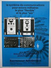 9/1975 PUB EAS ELECTRONIQUE AEROSPATIALE EMETTEUR RECEPTEUR ORIGINAL FRENCH AD