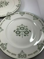 "lot of 3 Franciscan HERITAGE 10 1/4"" Dinner Plates Green Design Made in USA"