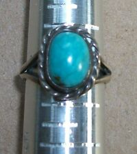VTG? Native American? Turquoise Ring Size 4 Sterling Rope Frame Cut Outs Delicat