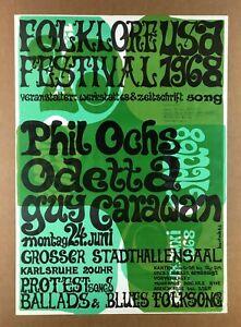 """HIPPIE LAVA"" POSTER (1968) ""THE PROTEST CONCERT"" = Phil Ochs ODETTA Guy Carawan"