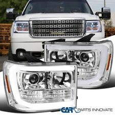 For GMC 07-14 Sierra 1500 2500HD 3500HD LED DRL Clear Projector Headlights
